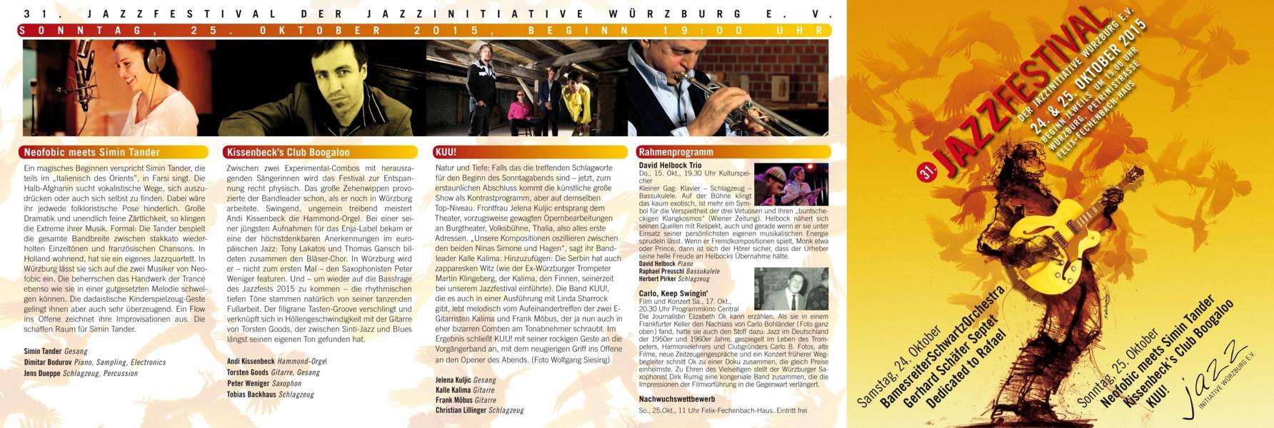 31. Jazzfestival Würzburg - Der Flyer - Programm am 24.10.2015