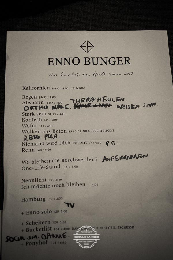 Enno Bunger - Setlist